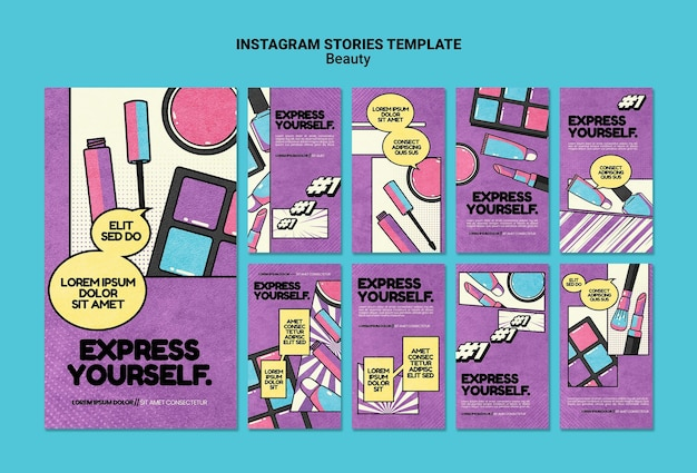 Historie w mediach społecznościowych o urodzie w stylu pop-art