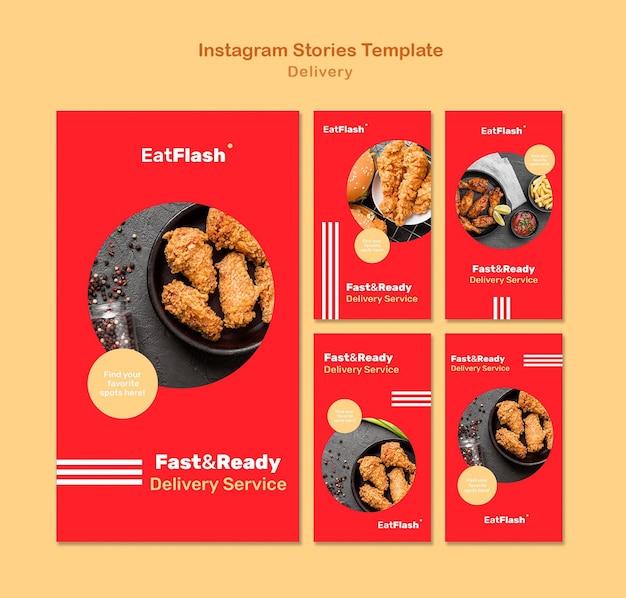 Historie w mediach społecznościowych z dostawą jedzenia