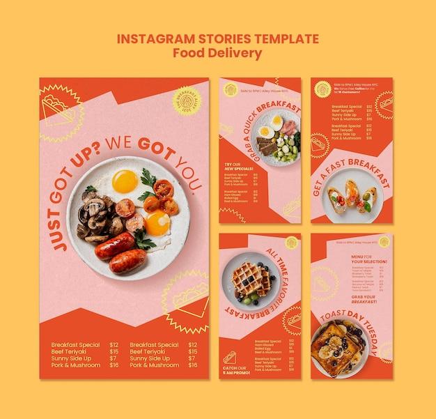 Historie w mediach społecznościowych z dostawą śniadań