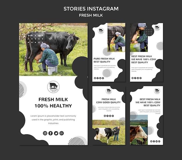 Historie ze świeżych mleka na instagramie