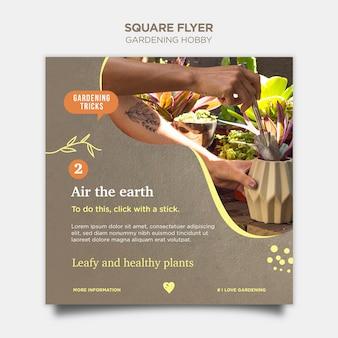 Hobby ogrodnicze kwadratowy projekt ulotki