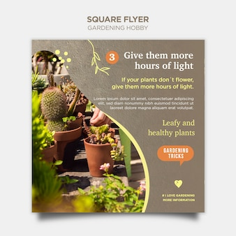 Hobby ogrodnicze kwadratowy styl ulotki