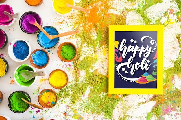 Holi festiwal makieta z ramą