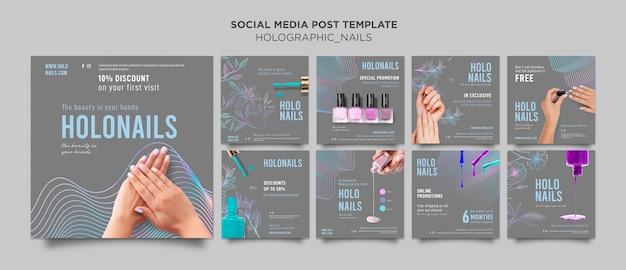 Holograficzne paznokcie post w mediach społecznościowych