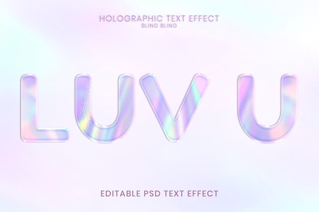 Holograficzny edytowalny efekt tekstowy