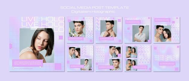 Holograficzny post w mediach społecznościowych z cyfryzacją