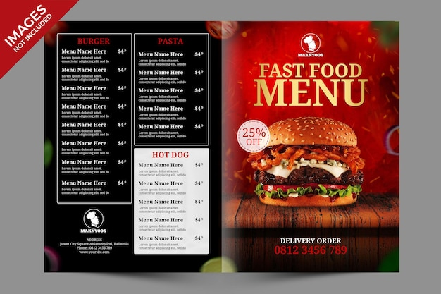 Hot dark restaurant lub cafe bifold food menu szablon