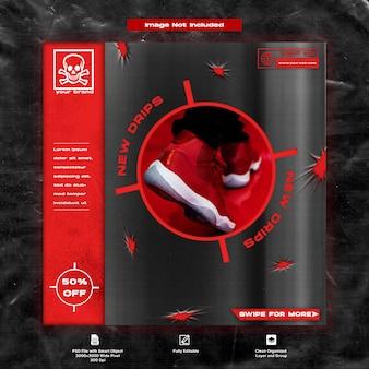 Hypebeaststreetwear promocja sprzedaży butów i trampek szablon mediów społecznościowych