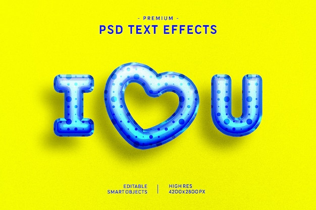 I love you blue valentine balloon text style effect on yellow