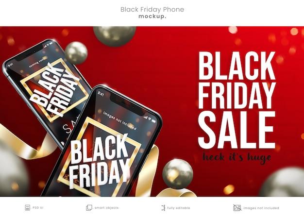 Idealna w pikselach makieta smartfona w czarny piątek ze wstążkami