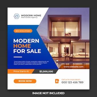 Idealny dom na sprzedaż post w mediach społecznościowych i szablon banera internetowego