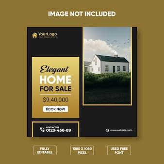Idealny dom na sprzedaż szablon banera internetowego premium psd