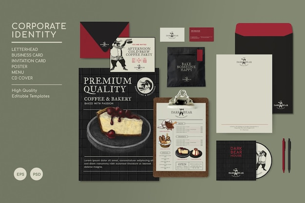 Identyfikacja wizualna restauracja biznesowa makiety i szablony psd w ciemnym tonie