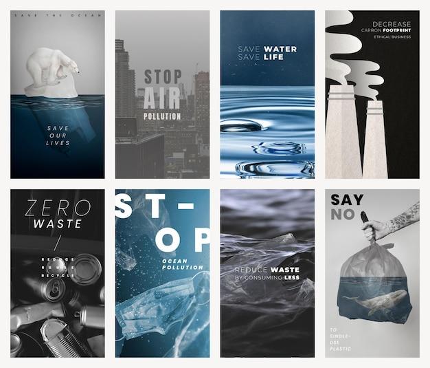 Idź zero odpadów szablon cytatu psd social media story