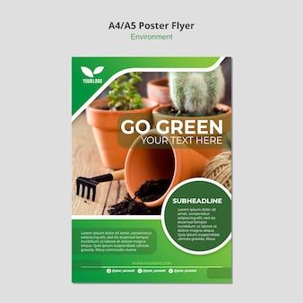 Idź zielony plakat szablon środowiska