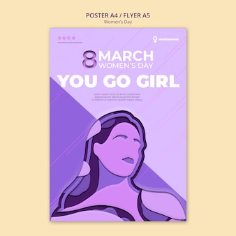 Idziesz szablon dziewczyna dzień kobiet plakat
