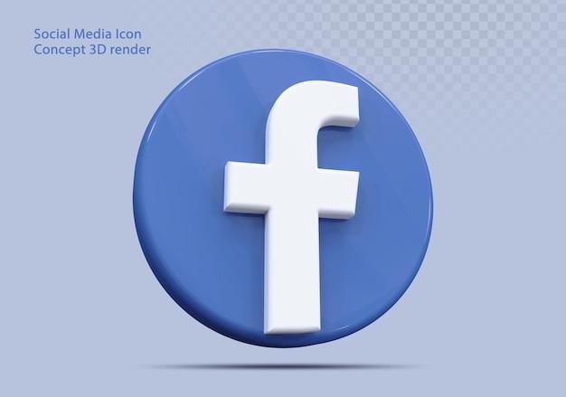 Ikona 3d facebook social media
