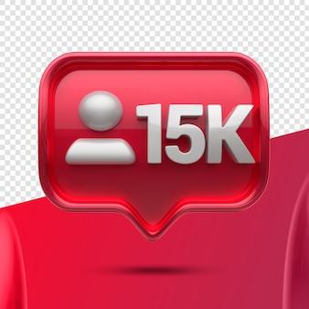 Ikona 3d instagram 15k obserwujących z przodu
