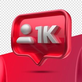 Ikona 3d instagram 1k obserwujących w prawo