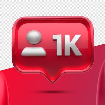 Ikona 3d instagram 1k obserwujących z przodu