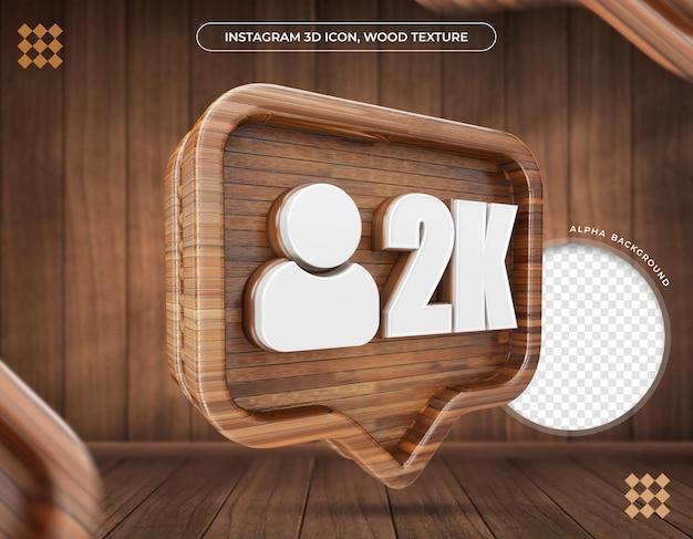 Ikona 3d instagram 2k zwolenników metaliczna tekstura