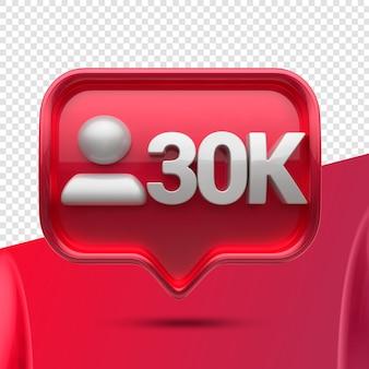Ikona 3d instagram 30k obserwujących z przodu