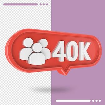 Ikona 3d instagram 30k zwolenników na białym tle