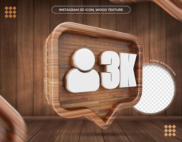 Ikona 3d instagram 3k zwolenników metalicznej tekstury