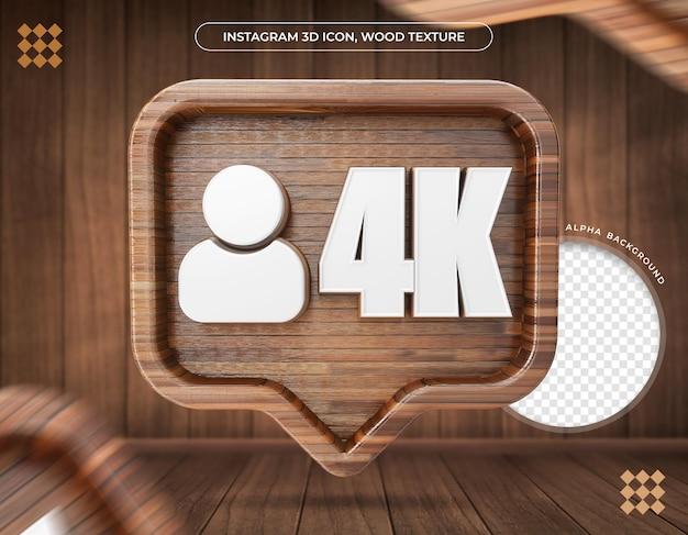 Ikona 3d instagram 4k obserwujących tekstura drewna