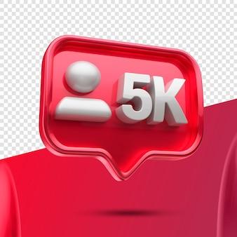 Ikona 3d instagram 5k obserwujących na lewo