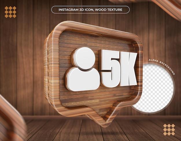 Ikona 3d instagram 5k zwolenników metaliczna tekstura