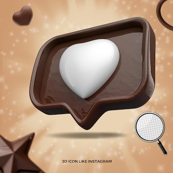 Ikona 3d, jak social media instagram czekoladowe renderowanie wielkanocne