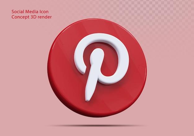 Ikona 3d pinterest media społecznościowe
