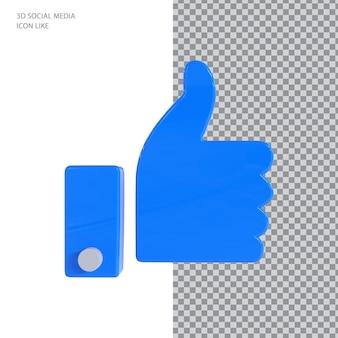 Ikona 3d polubienia na facebooku