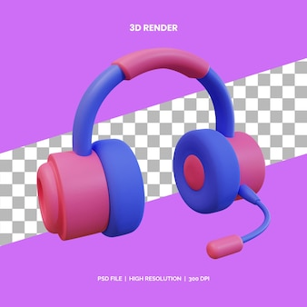 Ikona 3d renderująca nowoczesne słuchawki