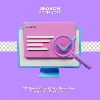 Ikona 3d renderująca wyszukiwanie dla twojej witryny