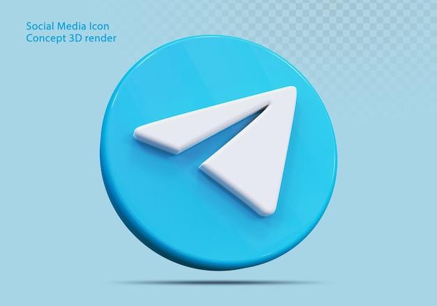 Ikona 3d telegram media społecznościowe