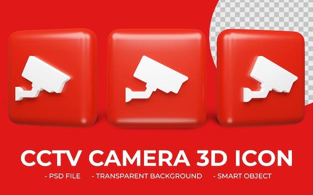 Ikona aparatu bezpieczeństwa lub kamery cctv renderowania 3d na białym tle