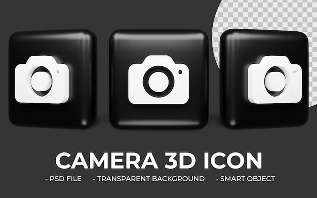 Ikona aparatu fotograficznego w renderowaniu 3d na białym tle