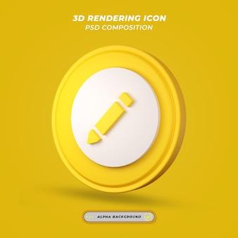 Ikona aparatu ołówka w renderowaniu 3d