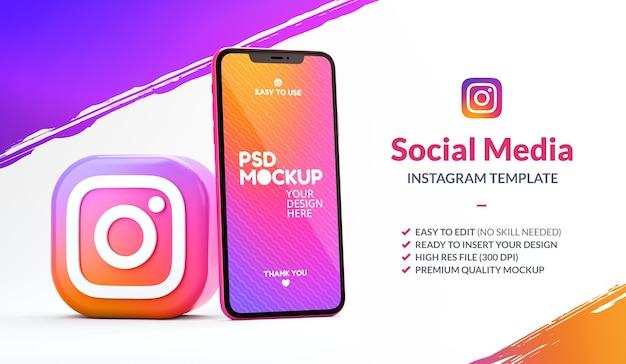 Ikona aplikacji instagram z makietą telefonu dla szablonu marketingowego w renderowaniu 3d