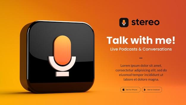 Ikona aplikacji na białym tle stereo renderowania 3d dla szablonu marketingowego