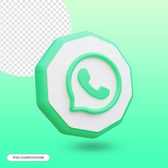 Ikona aplikacji whatsapp na białym tle w renderowaniu 3d