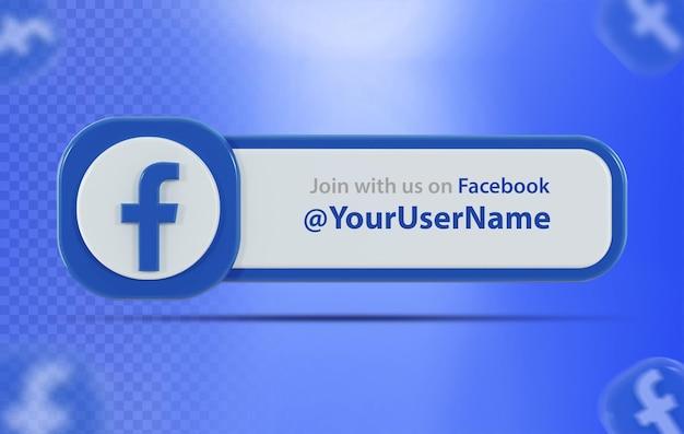 Ikona banera facebook z etykietą 3d render na białym tle