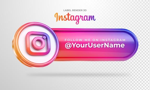 Ikona banera instagram follow me label 3d render na białym tle