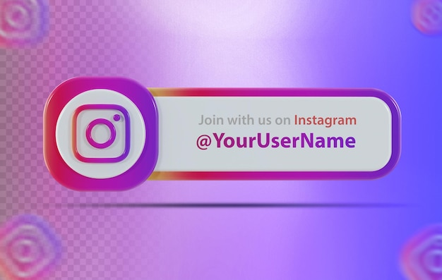 Ikona banera instagram z etykietą renderowania 3d