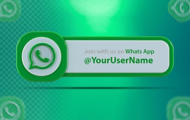 Ikona banera whatsapp z etykietą renderowania 3d