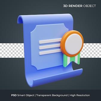 Ikona certyfikatu 3d render ilustracja na białym tle premium psd