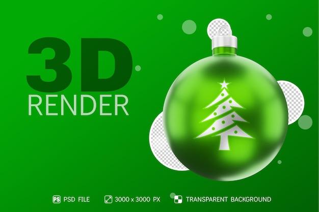 Ikona choinki na realistycznej bożonarodzeniowej kuli 3d render z metalicznym zielonym na białym tle