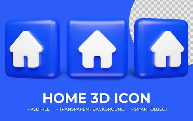 Ikona domu renderowania 3d na białym tle